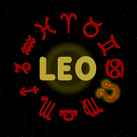 3d zodiac signs with LEO highlighted