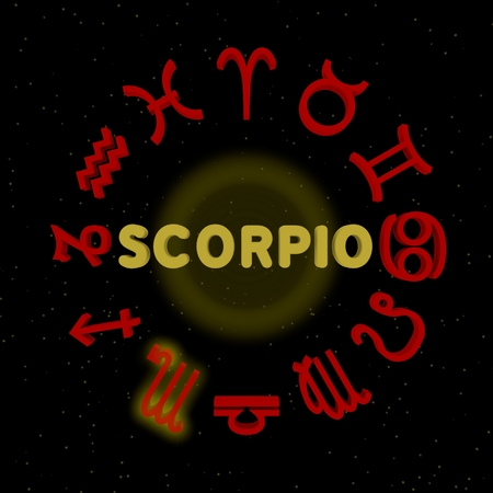 3d zodiac signs with SCORPIO highlighted