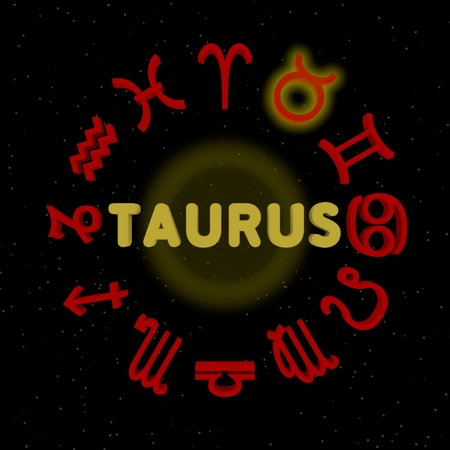 3d zodiac signs with TAURUS highlighted