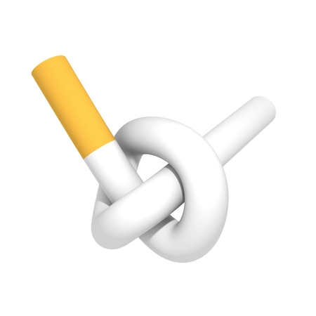 Knotted cigarette 3d isolated on white background