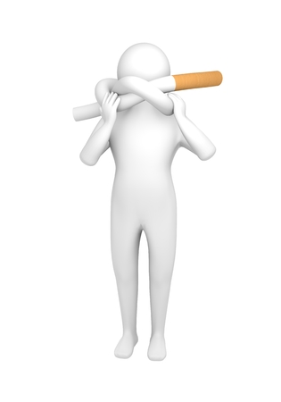 Little man with cigarette knotted at neck Stock Photo