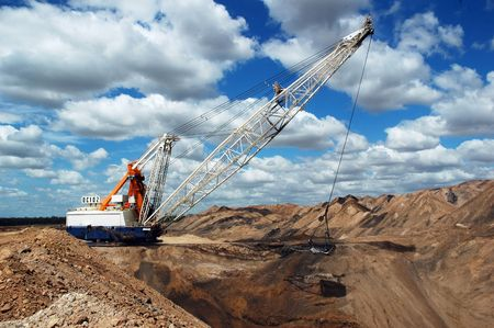 Dragline on the open pit coal mine, QLD, Australia photo