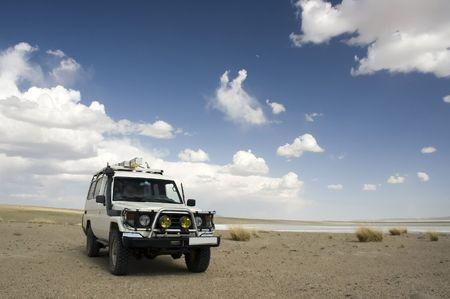 4WD in Gobi desert, Mongolia photo