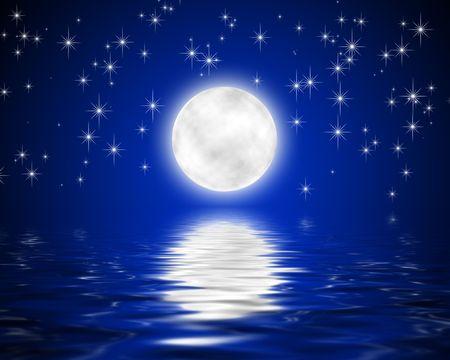 noche estrellada: imagen de la luna y las estrellas y la reflexi�n en el agua de las estrellas del cielo Foto de archivo