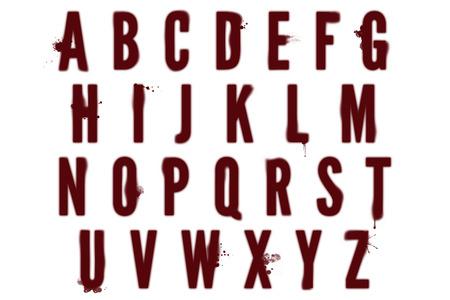 bloodstain: Bloodstain Alphabet Collection Stock Photo