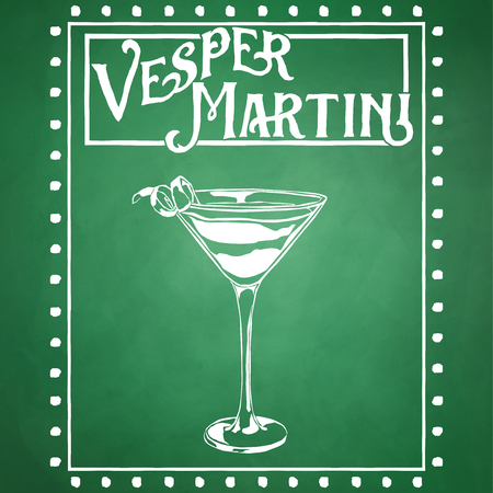 Vesper Martini Typography Digital Illustration