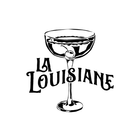 Classic Cocktails of New Orleans Sketch Illustration
