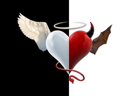 천사 악마 심장 고립 된 이미지 스톡 콘텐츠