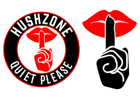 Hush Zone Silencio Por favor Icon Set Foto de archivo - 70749416