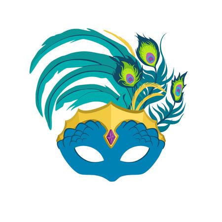 Mardi Gras Mask Peacock Feather Illustration