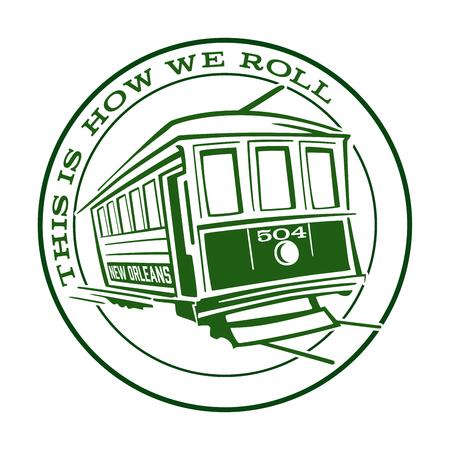 La Nouvelle-Orléans Streetcar Icône Voici comment nous roulons Banque d'images - 70749421