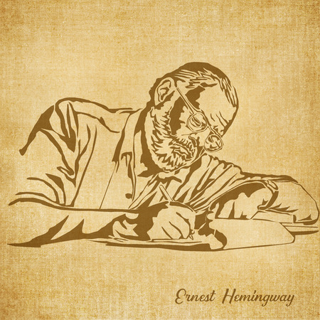 Historic New Orleans Author Sketch Illustration Ernest Hemingway 版權商用圖片