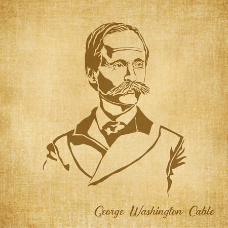 a literary sketch: Historic New Orleans Author Sketch Illustration George Washington Cable