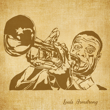 Historic New Orleans Musician Sketch Illustration Louis Armstrong Zdjęcie Seryjne - 70749429