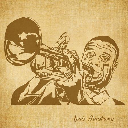 Historic New Orleans Musicus schetsillustratie Louis Armstrong