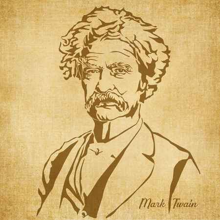 Historic New Orleans Author Sketch Illustration Mark Twain