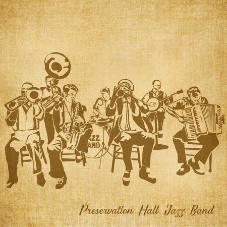 역사적인 뉴 올리언스 재즈 밴드 스케치 그림 보존 홀 스톡 콘텐츠 - 70749430