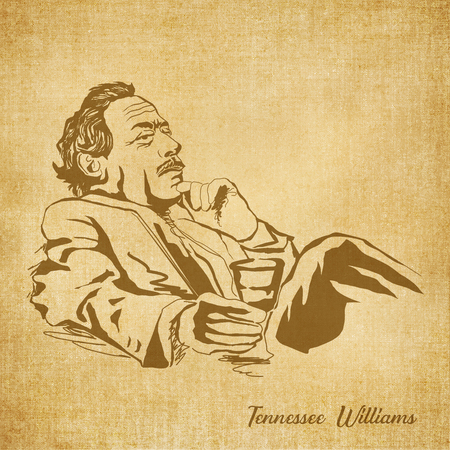 a literary sketch: Historic New Orleans Author Sketch Illustration Tennessee Williams Stock Photo