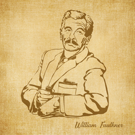 Historic New Orleans Author Sketch Illustration William Faulkner