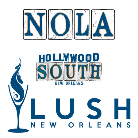 WordArt Collection Hollywood South New Orleans Lush Banco de Imagens