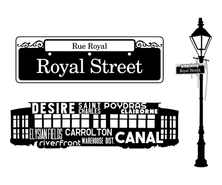 WordArt New Orleans Collection Streetcar Sign Banque d'images - 70749456