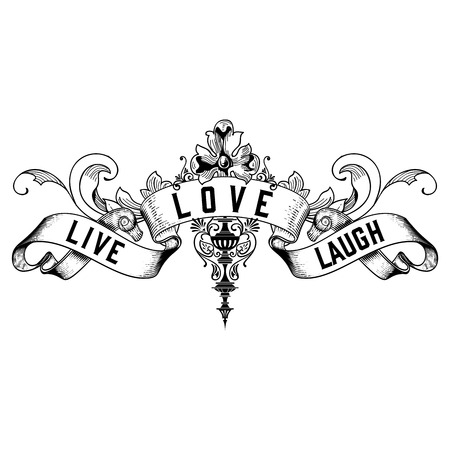 Live Love Laugh Typography Design Isolated on White
