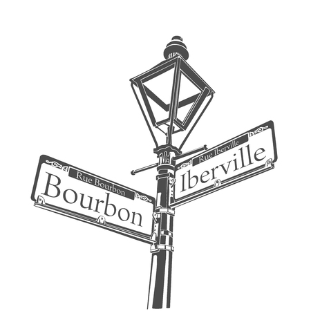 Historische straatlantaarn Bourbon Street Franse wijk New Orleans teken Stockfoto