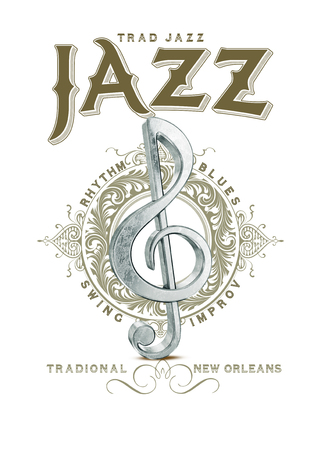 New Orleans Louisiana Culture Collection Jazz Musical Note Stockfoto