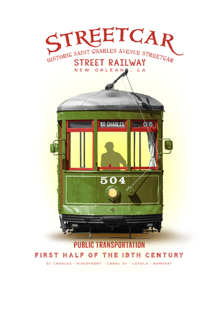 New Orleans Louisiana Culture Collection Streetcar Stockfoto