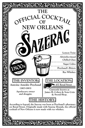 THE HISTORY OF NEW ORLEANS LIBATIONS 1800 SAZERAC