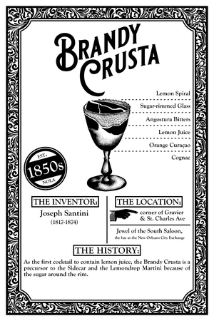 THE HISTORY OF NEW ORLEANS LIBATIONS 1850 BRANDY CRUSTA Фото со стока