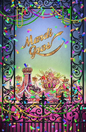 New Orleans Mardi Gras French Quarter Greeting Card Scene Stock Photo