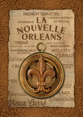 Louisiana Life New Orleans Culture Background Damask Artwork Southern Living Stock Photo