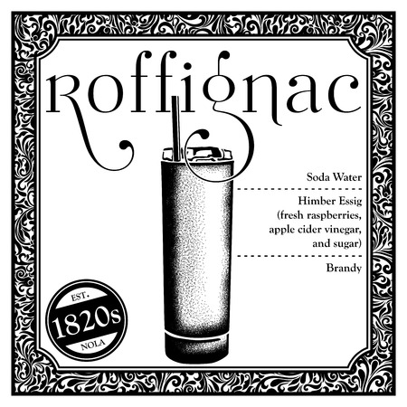 Historic New Orleans Cocktail Sketch Roffignac 版權商用圖片