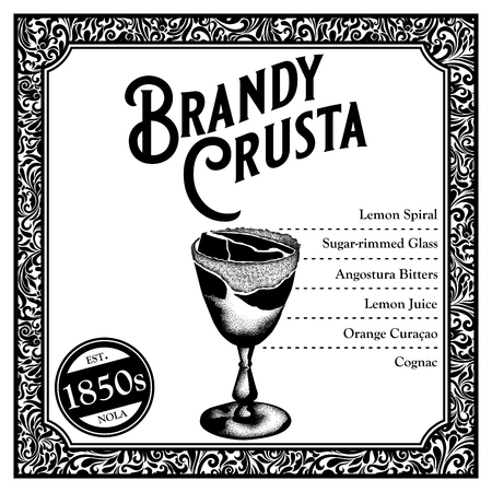 Historic New Orleans Cocktail Sketch Brandy Crusta