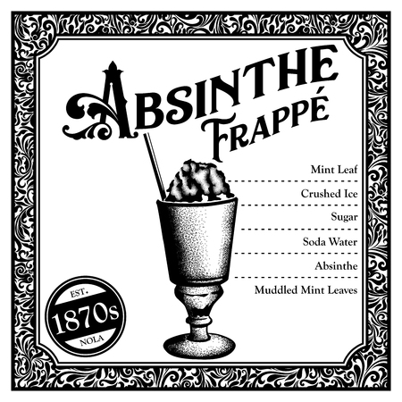 Historic New Orleans Cocktail Sketch Absinthe Frappe 版權商用圖片
