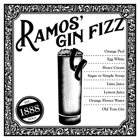 Historic New Orleans Cocktail Sketch Ramos Gin Fizz