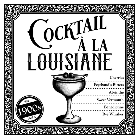 Historic New Orleans Cocktail Sketch Louisiane 版權商用圖片