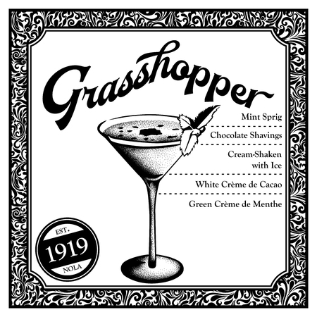 Historic New Orleans Cocktail Sketch Grasshopper 版權商用圖片
