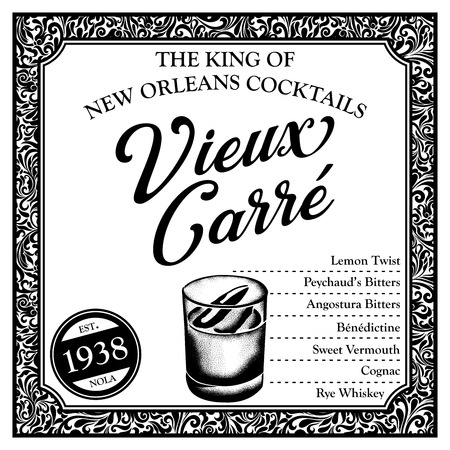Historic New Orleans Cocktail Sketch Vieux Carre