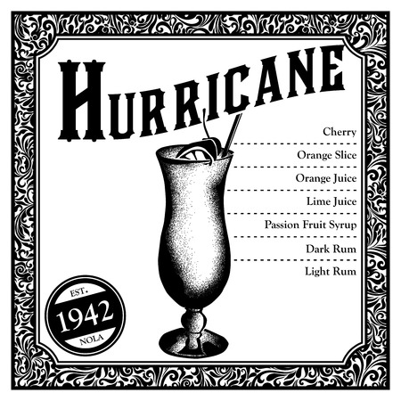 Historic New Orleans Cocktail Sketch Hurricane