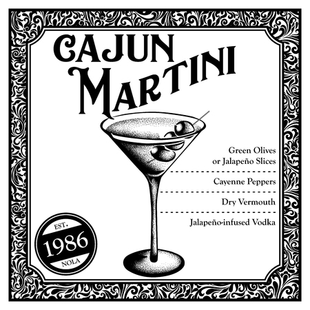 Historic New Orleans Cocktail Sketch Cajun Martini