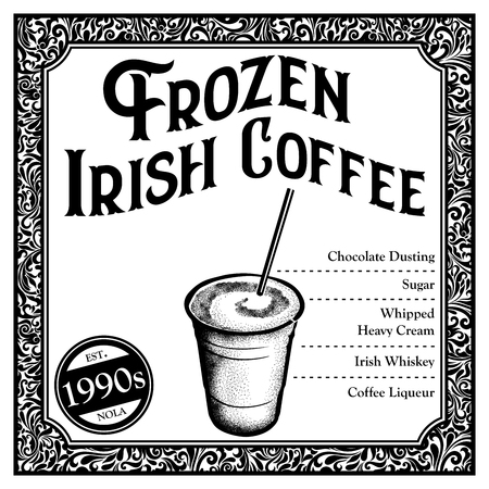 Historic New Orleans Cocktail Sketch Frozen Irish Coffee 版權商用圖片