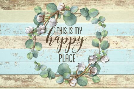 This is my Happy Place Cotton Floral Shabby Chic Wreath Wood Background