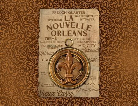 New Orleans French Quarter Culture Damask Wallpaper Background Texture