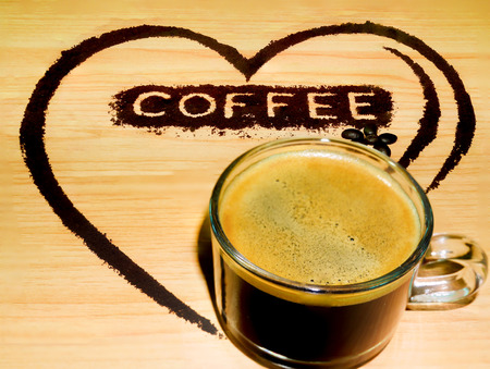 brigth: coffee heart with coffee grind heart Stock Photo