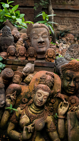terra cotta: Ancient head terra cotta in asian Stock Photo