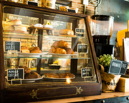brighter: coffee shop and bakeshop in the morning with sunshine Stock Photo