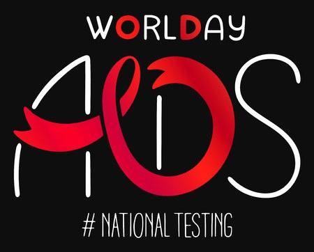World AIDS day 1 December poster. Awareness red ribbon. Isolated vector banner. HIV test symbol.National Testing Illustration