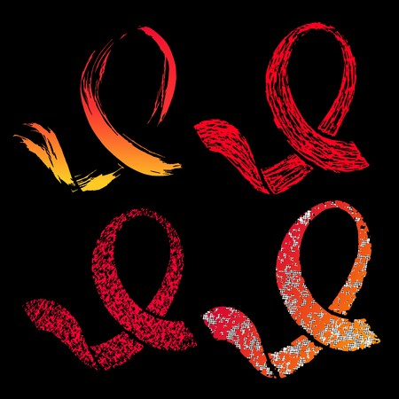 World AIDS day 1 December symbol. Set of red ribbons. Isolated vector banner.